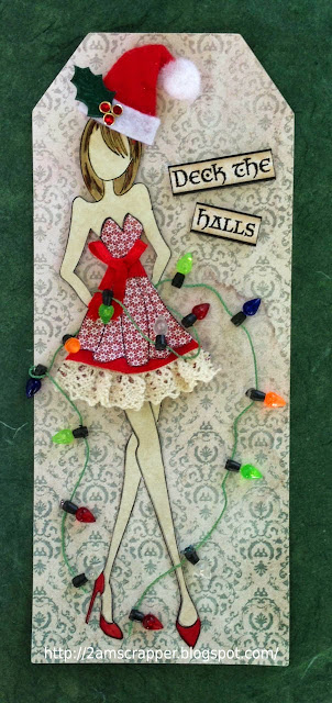 my guest designer Christmas in July tag using Prima doll stamp