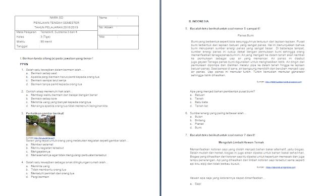 Soal PTS/UTS Kelas 3 SD/MI: Tema 6 Subtema 3-4