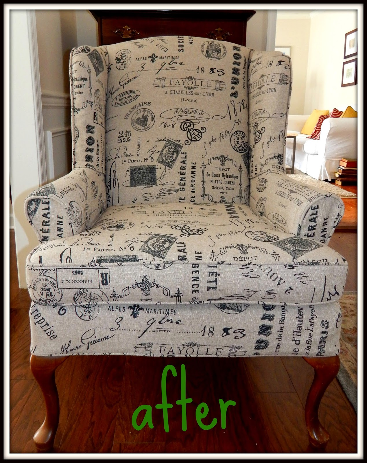 Pam Morris Sews: Printed linen slipcover for a wing chair