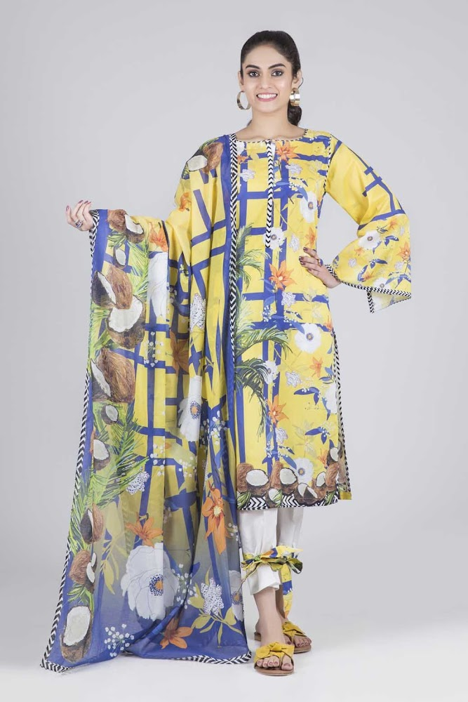Bonanza Satrangi Yellow & Blue Lawn suit