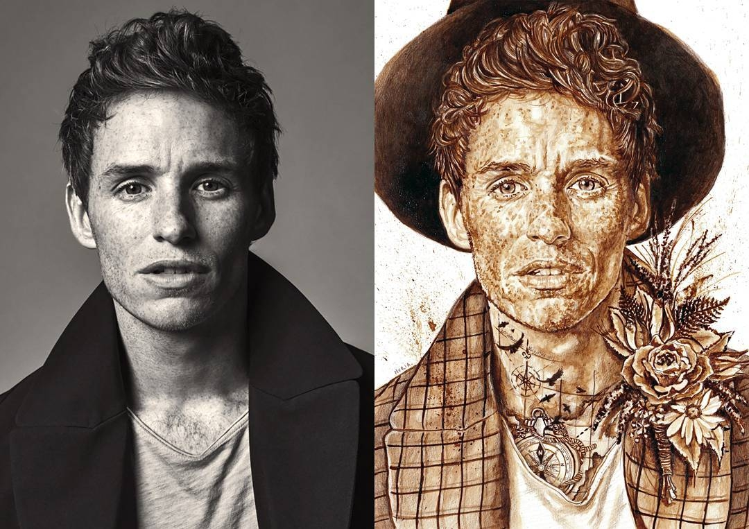 04-Eddie-Redmayne-Nuria-Salcedo-nuriamarq-Celebrities-and-Animated-Movies-Painted-with-Coffee-and-Brown-Pencil-www-designstack-co