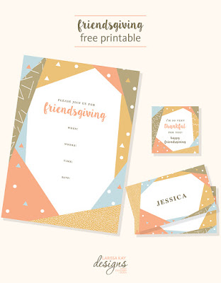 Free Printables for Friendsgiving Invitations, place cards and thank yous