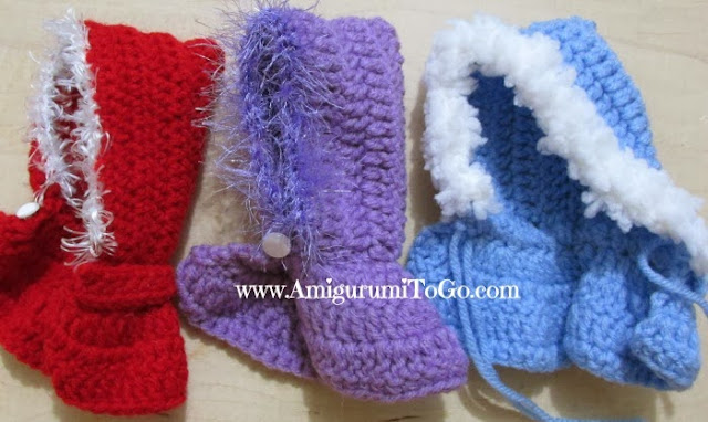 red purple and blue crochet doll capes