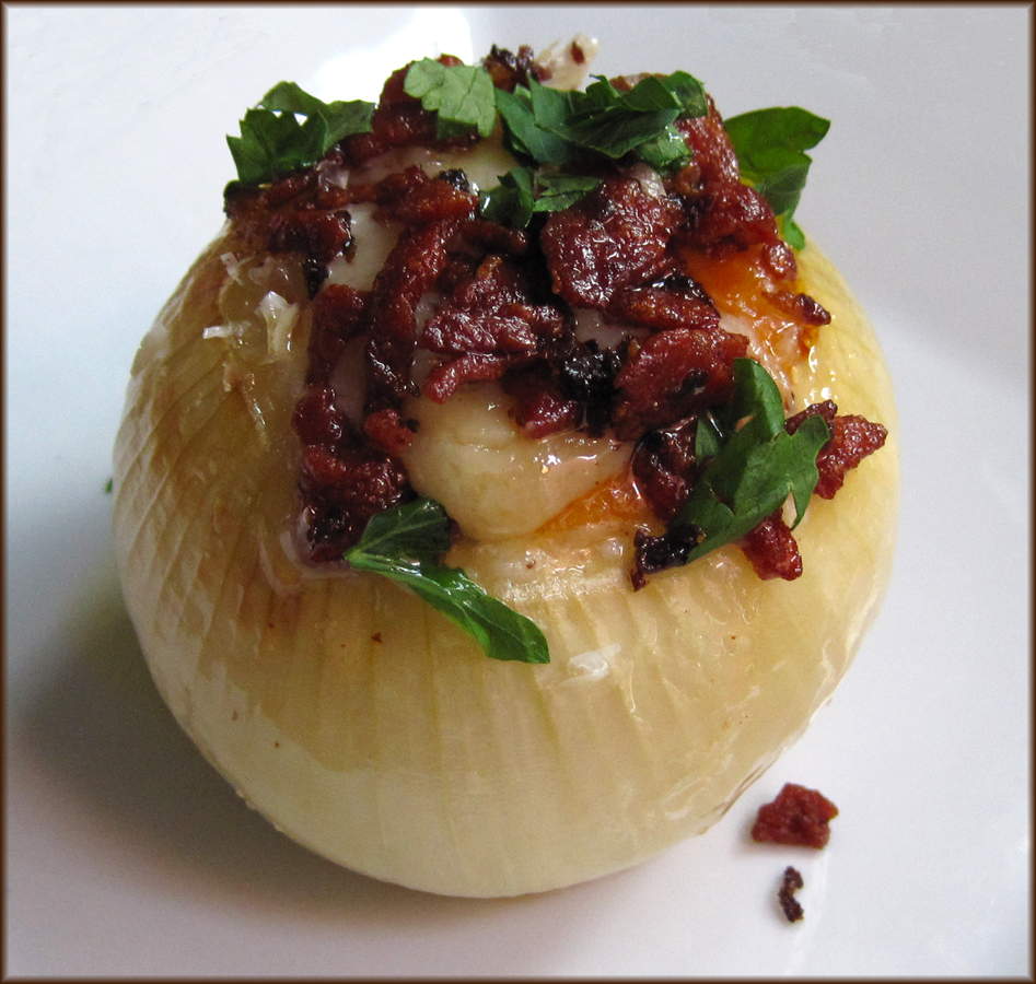 Cheese and Bacon Stuffed Onions
