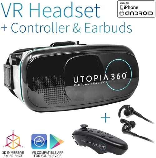 Utopia 360° VR Headset with Controller and Earbuds