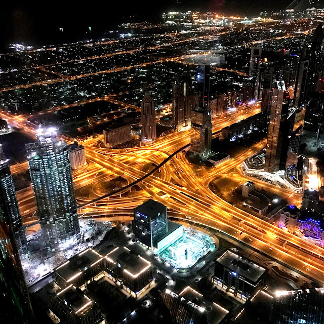 Night view of Dubai Defense Intersection from Burj Khalifa