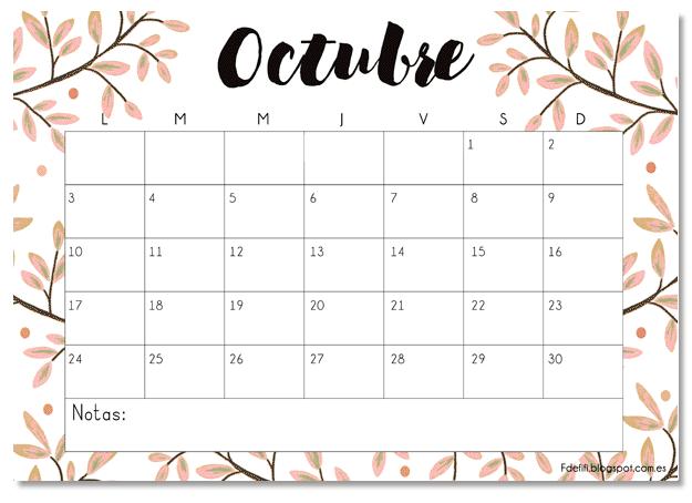Calendario para octubre: ¡Descárgatelo gratis!