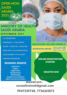 OPEN MOH SAUDI ARABIA STAFF NURSES VACANCY 2021