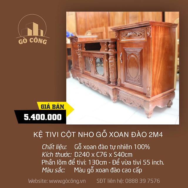 Kệ Tivi Cột Nho Gỗ Xoan Đào 2m4