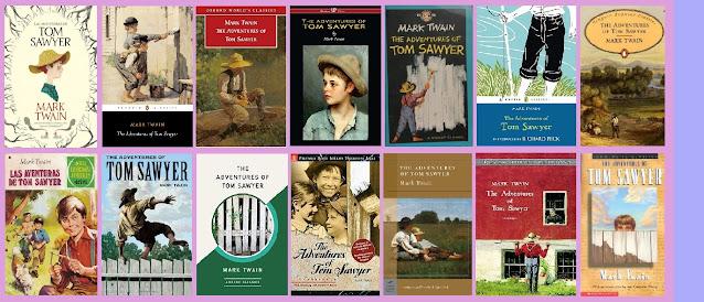 Portadas de la novela clásica Las aventuras de Tom Sawyer, de Mark Twain