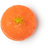 A bright neon orange spherical soap on a bright background
