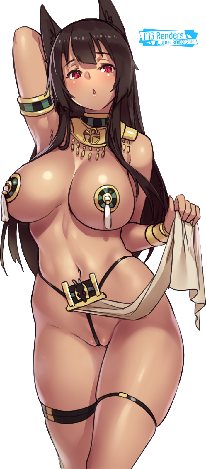 Tags: Anime, Render,  Armpit,  Dark skin,  Houtengeki,  Micro Bikini,  Original Character, PNG, Image, Picture