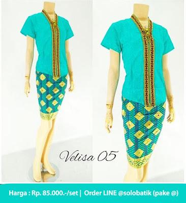 Rok dan Blouse Batik Velisa05 hijau