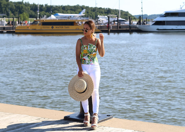 floral print top with white skinny jeans
