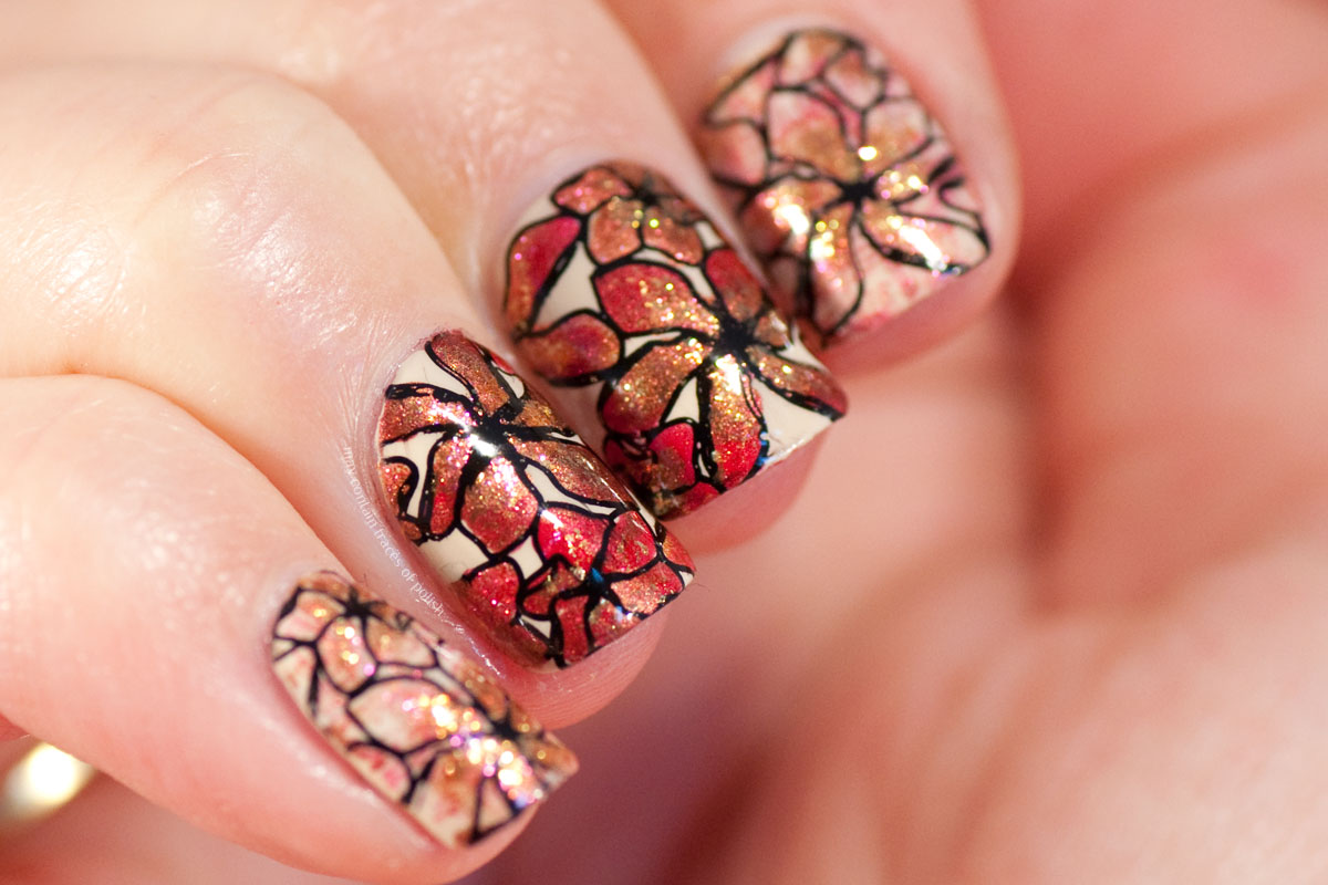 Autumn Golden Floral Nails with MoYou London Flower Power 27