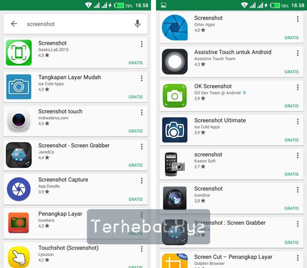 screenshot tanpa menekan tombol fisik android