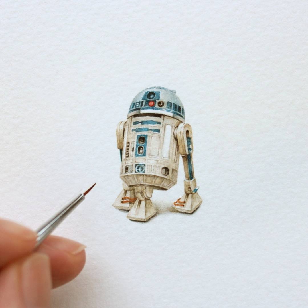 09-R2-D2-Droid-Julia-Las-Tiny-Animal-Watercolor-Paintings-and-Other-Miniatures-www-designstack-co