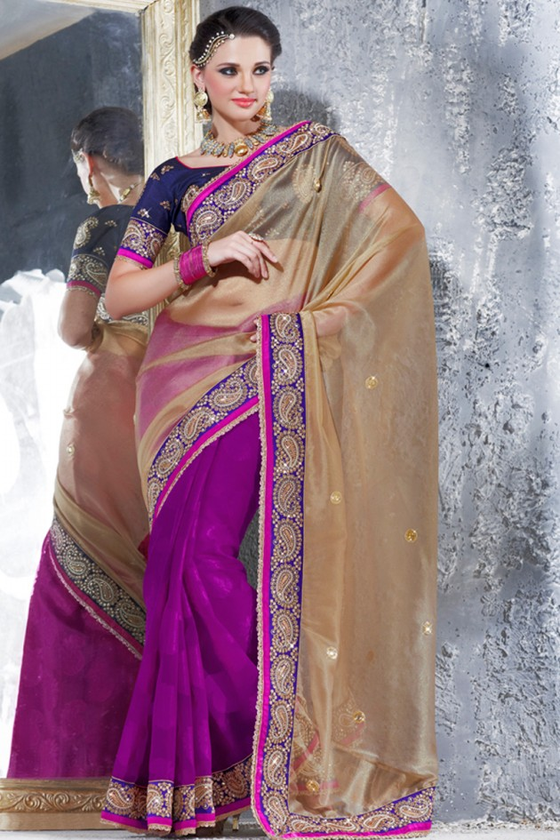 Fashion Style Indian Wedding Bridal Embroidered Reception Saree Designs Beautiful Casual