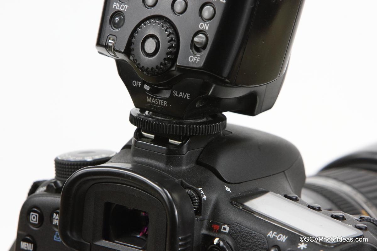 Canon Speedlite 580EX mounted on camera hot shoe
