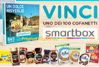 Logo ''Fai colazione con noi'' e vinci 100 cofanetti Smartbox