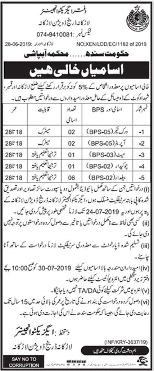 Irrigation Department Larkana Jobs 09 July 2019