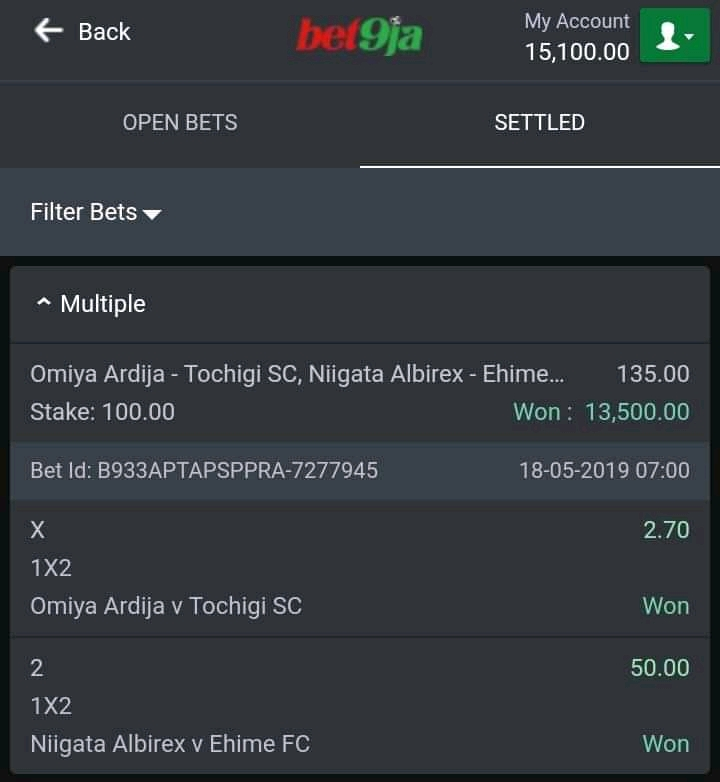 Bet9ja Prediction: Earned 30k With 100Naira Bet9ja Correct
