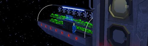 Un hombre mira al infinito espacial con un invernadero a su espalda
