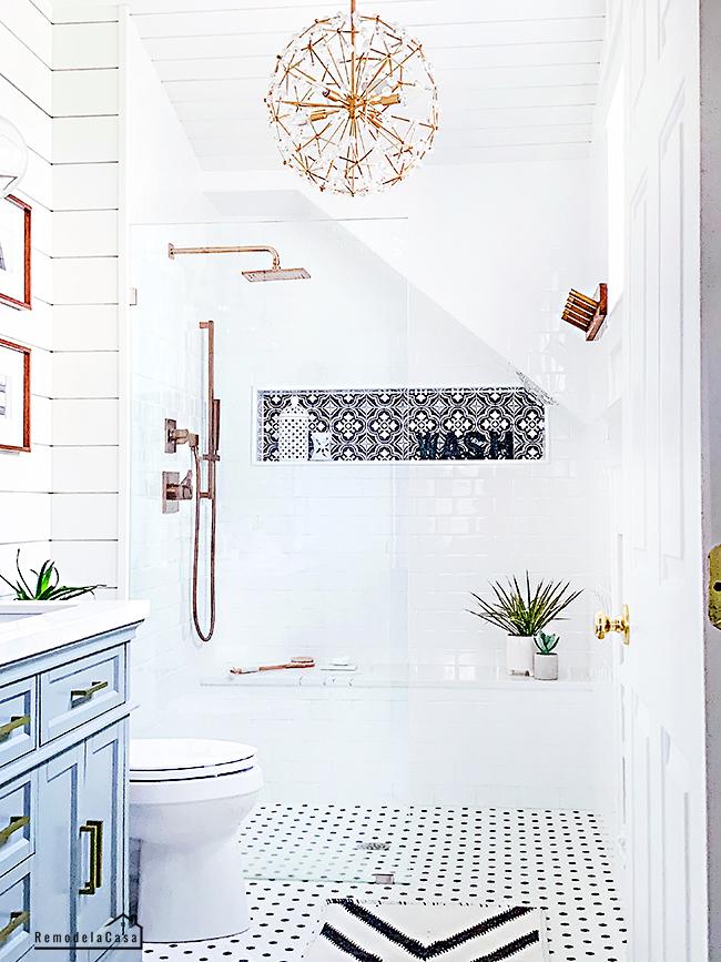 farmhouse bathroom with black and white tile