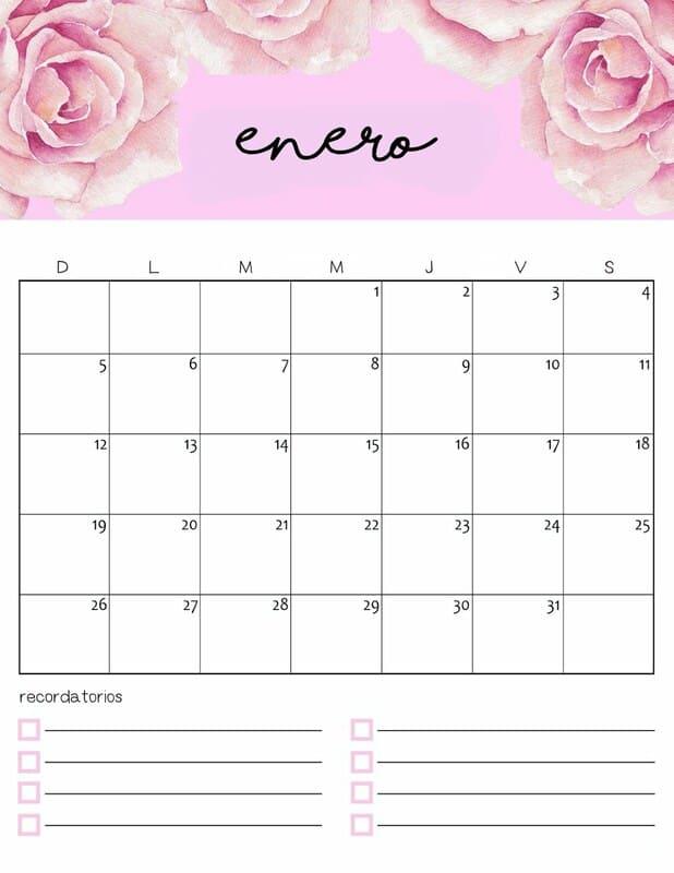 Calendario colorido 2020 de enero gratis