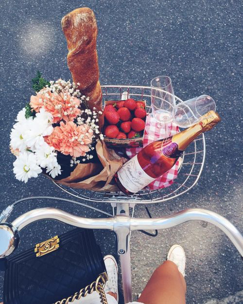 Chanel bag, bicycle, picnic essentials