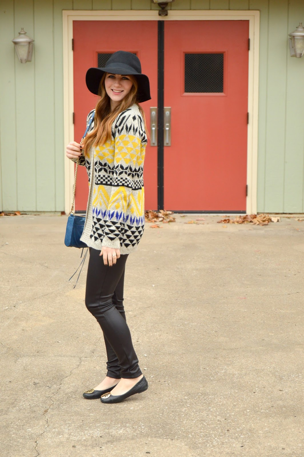 aztec cardigan with leather leggings