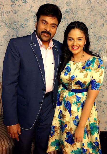 Anchor sreemukhi with Megastar Chiranjeevi