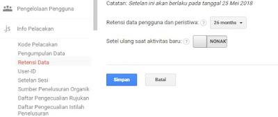Gambar Ilustrasi Cara Kontrol Data Retensi sesuai dengan Arahan Google Analytic