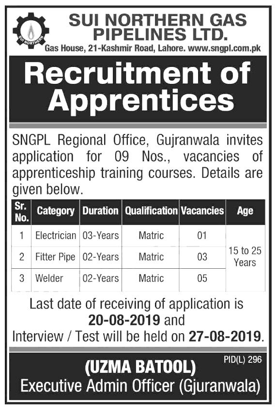 SNGPL Jobs 2019 Latest Sui Northern Gas Pipeline Limited Form Download