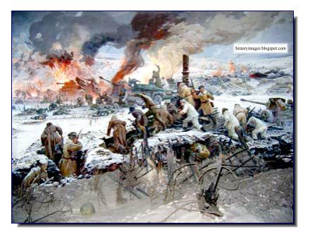 Russians attacking encircled Germans  Korsun-Cherkassy painting