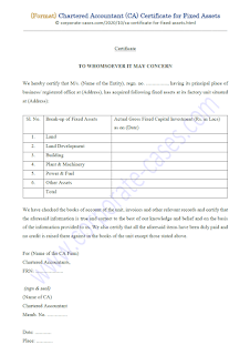 chartered accountant certificate for fixed assets