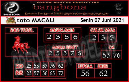 Prediksi Bangbona Toto Macau Senin 07 Juni 2021