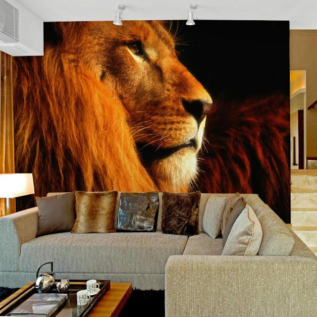 tapet djur fototapet lejon fonvägg vardagsrum cool tapet