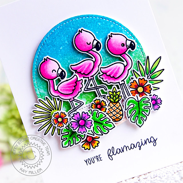 Sunny Studio Stamps: Stitched Circle Dies Fabulous Flamingos Tropical Themed Card by Kay Miller