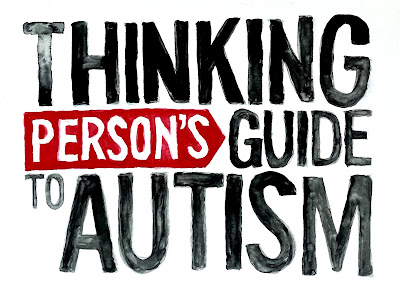 """Watercolor version of our logo: Black all-caps sans serif text on a white background reading, """"Thinking Person's Guide to Autism."""" """"Person's"""" is in white text, inset in a red rectangle with a pointed end on its right."""