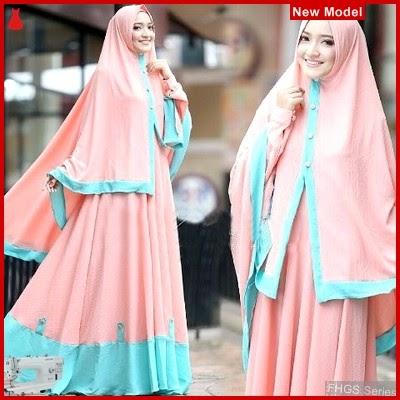 FHGS9181 Model Syari Layla Orange, Perempuan Baju Muslim Jersey BMG