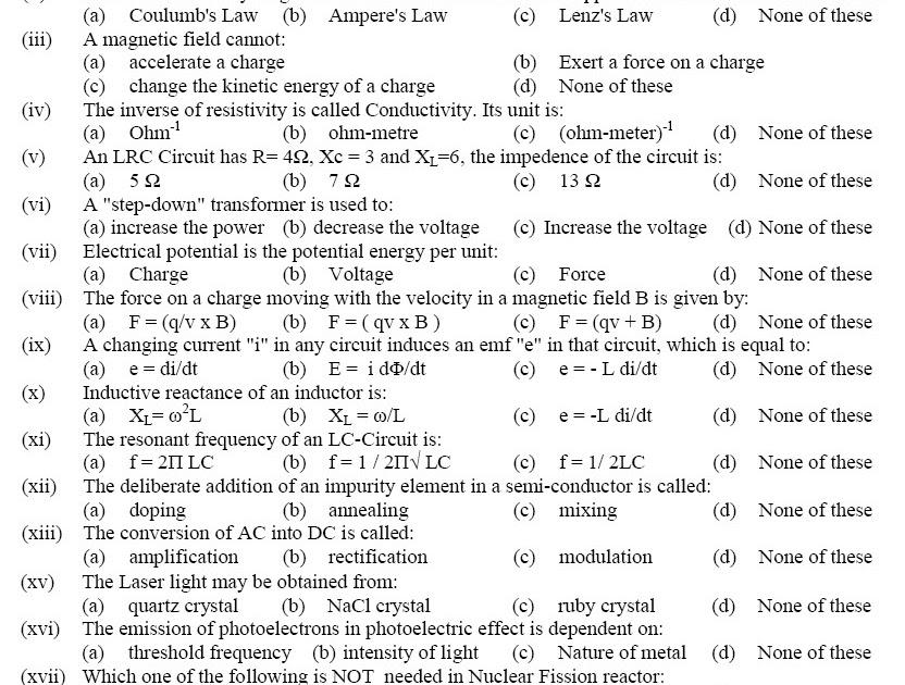 Physics Solved MCQs | Download PPSC FPSC NTS PTS UTS OTS ITS