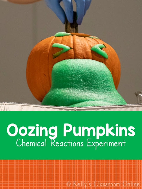 Combine baking soda and vinegar to create an exciting chemical reaction! Oozing Pumpkins is a fun STEM science experiment for children of all ages.
