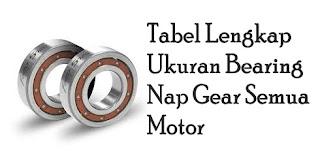 Tabel Lengkap Ukuran Bearing Nap Gear Semua Motor