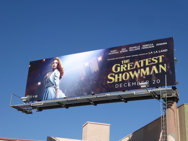 Rebecca Ferguson Greatest Showman billboard
