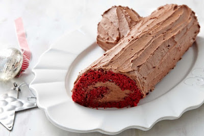 Red velvet Yule log desserts recipes