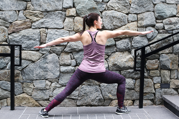 Naturally Me, Spring Workout Outfit, Target activewear, C9 Champion Workout Tank, C9 Champion Workout Leggings with Mesh, Burgundy Activewear, Warrior Pose