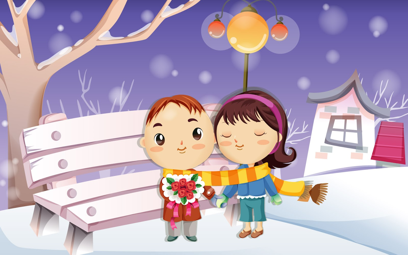 4400 Romantic Love Cartoon Wallpaper Terbaik