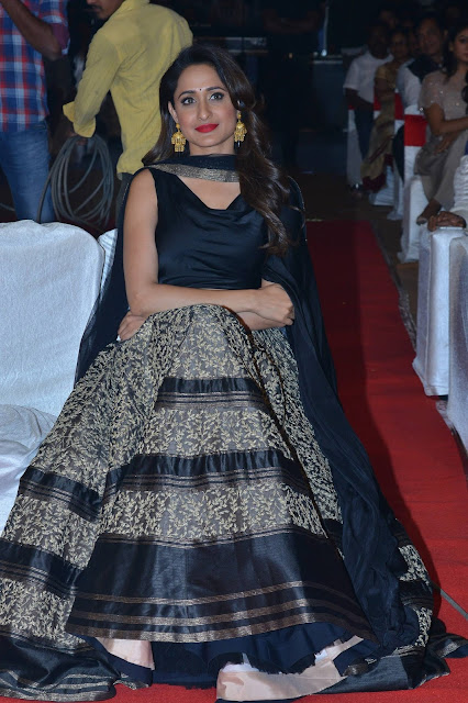 Pragya Jaiswal in Black and Gold Embroidered Lehenga