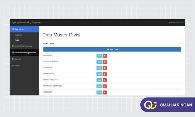 Fitur Data Divisi Review Aplikasi Inventory Barang Berbasis Web Php, MySQL dan Codeigniter